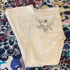 MEK white flare jeans